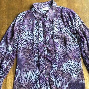 Vintage Kathy VanZeeland Purple Animal Print Top
